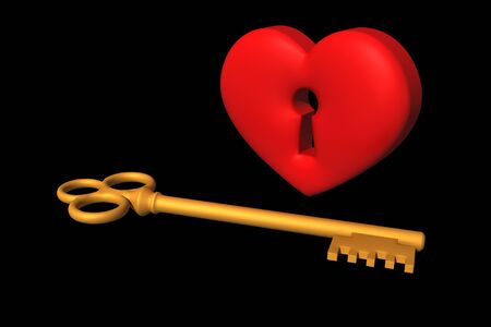 door lock love: heart and key Stock Photo