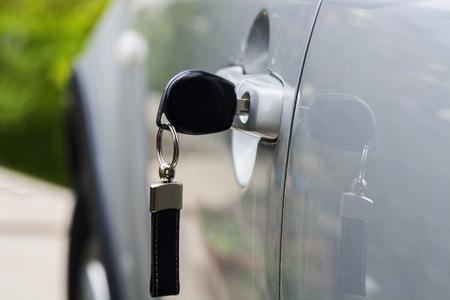 Car key left in the car door Stock Photo