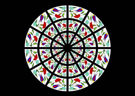 stained glass church: Bright and colorful stained glass window