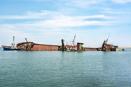 Shipwreck in mersin port,Turkey