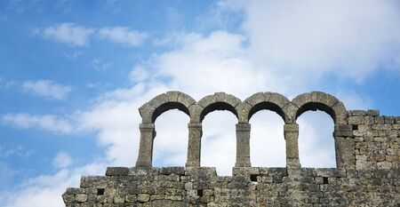 ruins of historic at blue sky background Stock Photo