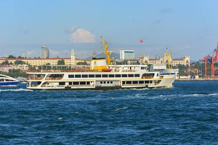 Istanbul passenger ferry sailing in to Bosphorus Sea , Istanbul, Turkey