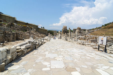 Marble road.The ancient city of Ephesus (Efes in Turkish) located near Selcuk town of Izmir Turkey.