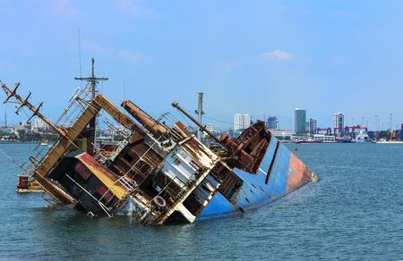 A shipwreck in Mersin harbor.Turkey