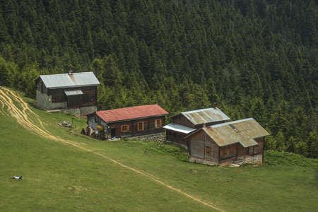Sal Plateau, highland houses. Kackar Mountains National Park. Rize, Turkey. Stock Photo