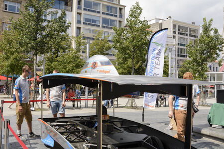 Antwerp, Belgium - August 9, 2014: The Belgian solar-powered vehicle that took part at the Antwerp exposition Solar Tour Alternative Energy for Mobility Zero Emission. On August 9, 2014. Belgium.