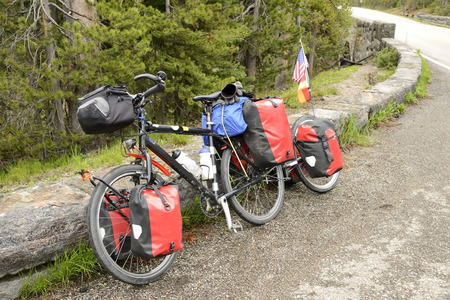 transportaion: Bicycle equipped for a long journey across the United States