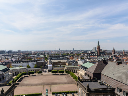 upperdeck view: Copenhagen panoramic view from Amalienborg Palace and its square with roofs and buildings.