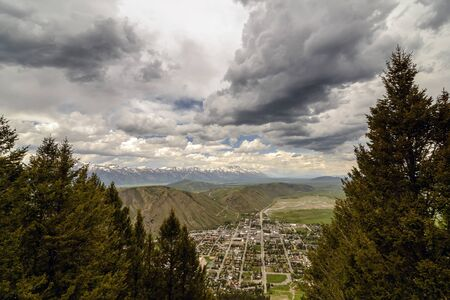 ariel: Ariel view of the city of Jackson Hole. United States of America, Wyoming Stock Photo