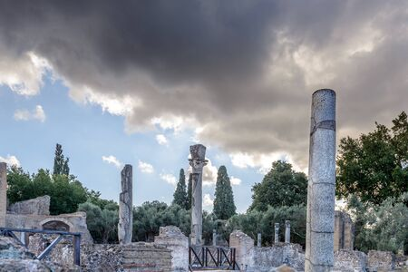 colonnaded: Ancient ruins of Villa Adriana(Pecile complex, immense colonnaded square), Tivoli, Italy