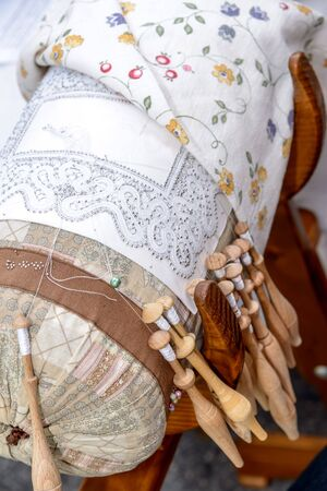 bobbin: Bobbin Lace with embroidery seen from above.
