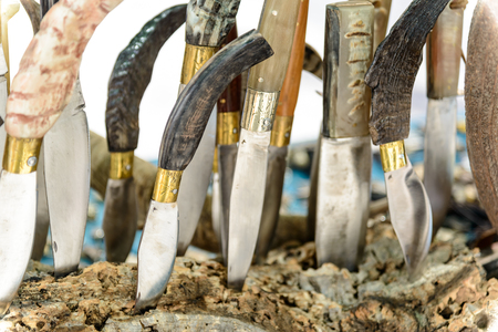 Artigianal Sardinian knives with handle in horn bone, built by craftsman cutler.