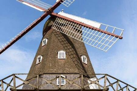 particularly: Particularly the blades, of a windmill in Denmark on a sunny day. Stock Photo