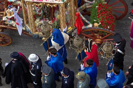 Cagliari, Italy - May 1, 2017: religious procession of SatEfisio - Sardinia - Parade of sardinian traditional costumes. Pilgrims from above.