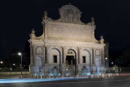 Monumental fountain of the Gianicolo is the great exhibition of Paola water coming from Lake Bracciano. Rome, Italy. Night view.