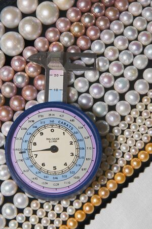 Caliber used to measure the diameter of the pearls