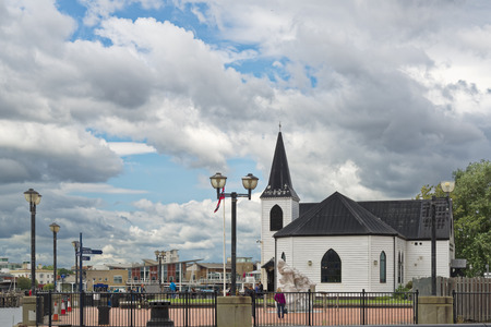Cardiff, United Kingdom - August 09, 2017: Norwegian Church from the water. Tourists visit Cardiff Bay, Cardiff Editorial