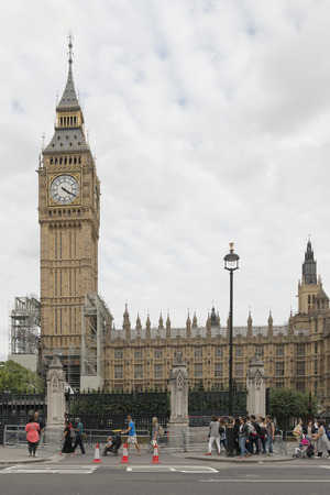 London, UK - August 17, 2017: Parliament to reconsider the length of time Big Ben will be silenced during renovation work . The bell is to be put out of use for 4 years on Monday 21st August for repairs. London, UK. Editoriali