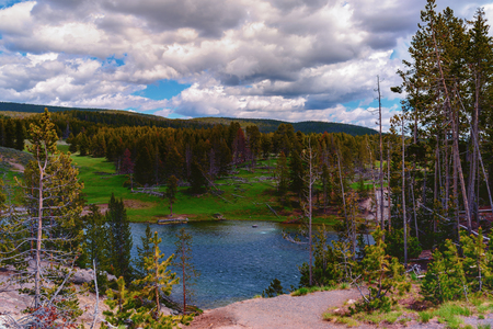 Landscape of the valley with view of the Yellowstone River inside the national park. Archivio Fotografico - 106235712