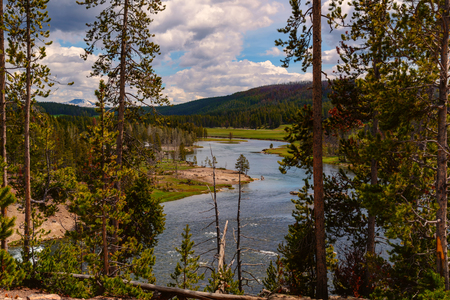Landscape of the valley with view of the Yellowstone River inside the national park. Archivio Fotografico - 106235722