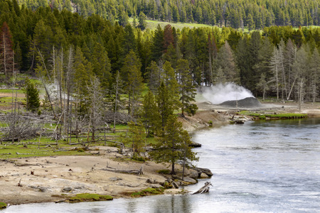 Landscape of the valley with view of the Yellowstone River inside the national park. Archivio Fotografico - 106235425