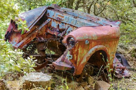 Rusty car wreck abandoned in a wood. Rusty details of the interiors wrapped by the plants of the forest. 스톡 콘텐츠