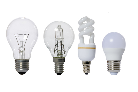 Group of lamps on a white background: led, fluorescent, incandescent, halogen with opaque glass bulb and E27 socket. Banco de Imagens