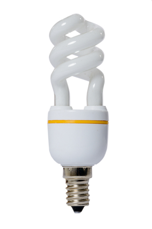 Fluorescent lamp with opaque glass bulb and E27 connection. White background. Banco de Imagens