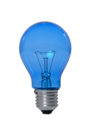 Incandescent lamp with glass bulb and E27 europe blue attachment for reading. Old standard of consumption obsolete and prohibited by current regulations.