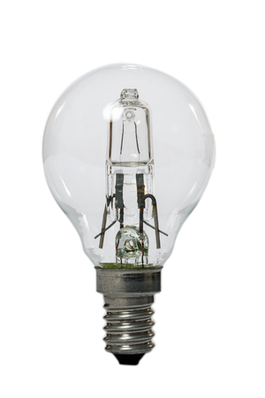 Halogen lamp with opaque glass bulb and E27 connection. Old standard of consumption obsolete and prohibited by current regulations.