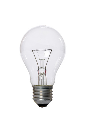 Incandescent lamp with transparent glass bulb and E27 europe connection. Old standard of consumption obsolete and prohibited by current regulations. Banco de Imagens