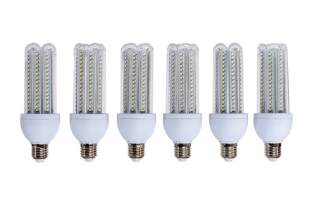 Series of new generation LED lamps with high brightness. White background and E27 socket. White background. 스톡 콘텐츠 - 123231476