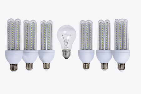 Series of new generation LED lamps with high brightness. White background and E27 socket. White background. 스톡 콘텐츠 - 123231488