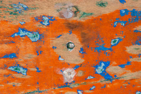The texture of abstract color painting on old wooden surface background. Abrasion. Foto de archivo