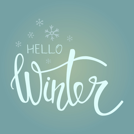 Hello Winter handlettering inscription. Symbols and emblems for invitation, greeting card, t-shirt, prints and posters. Vector illustration.
