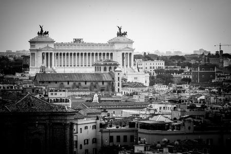 residential idyll: Altar of the Homeland, National Monument of Vittorio Emanuele II Stock Photo