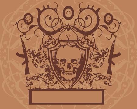 baroque skull  Vector