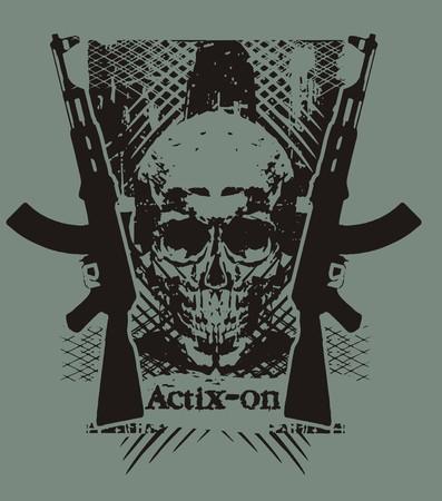 skull gun Stock Vector - 6118404