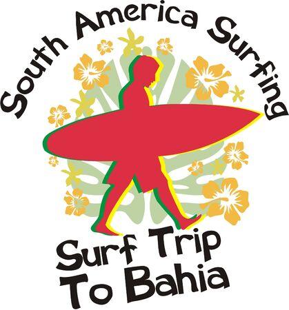 south america surfing  Illustration