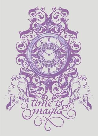 botany woman: antique clock