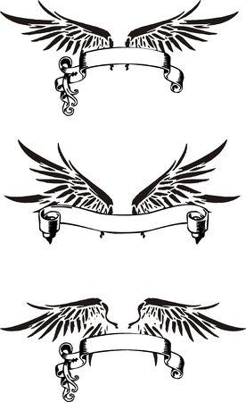 cross and wings: alas de cinta Vectores