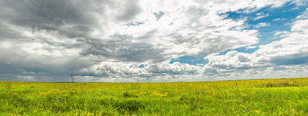 Russian plain. Panorama. after a strong rain in the clouds formed a region of instability, as one would say meteorologists