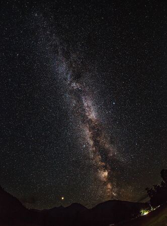 The Milky Way and Mars (left). Single frame. Polyana Taulu, Arkhyz