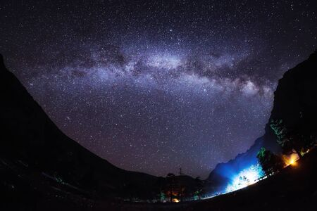 Milky Way Arch in a mountain valley, Arkhyz