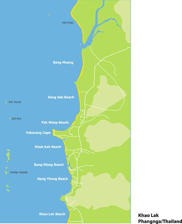 khao: Map of Khao Lak at Phangnga Thailand