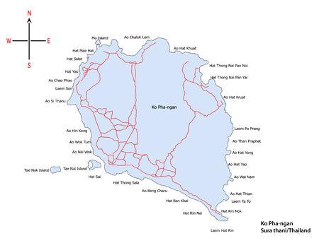 southern of thailand: Map of Koh Pha-ngan at Sura thani  Southern Thailand