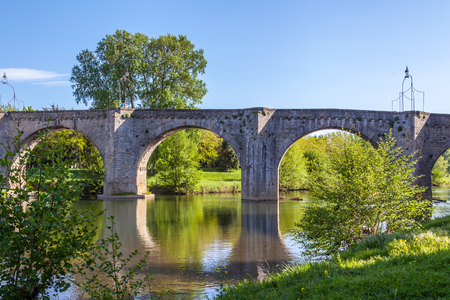 Pont Vieux crossing the Aude river in Carcassone Stock Photo