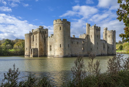 ruins of Bodiam Castle in East Sussex England on a sunny autumn day
