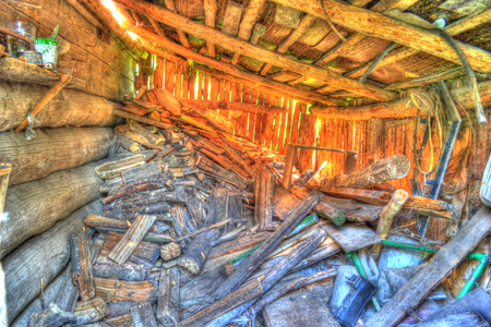 Firewood, bright picture closet in HDR processing