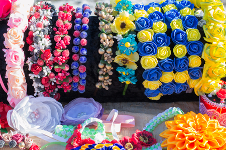 Colorful decorations for girls made of artificial flowers